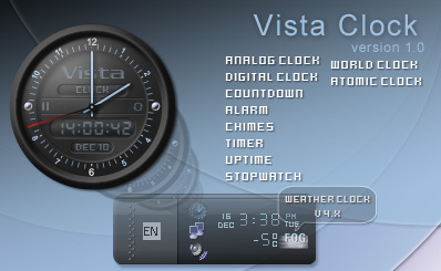 Vista Clock - a FREE Desktop Analog/Digital Clock